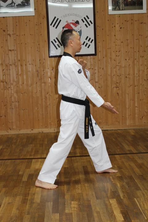 Pyonsonkkeut Jeucho Tzireugi (Upward open hand fingertips thrust)